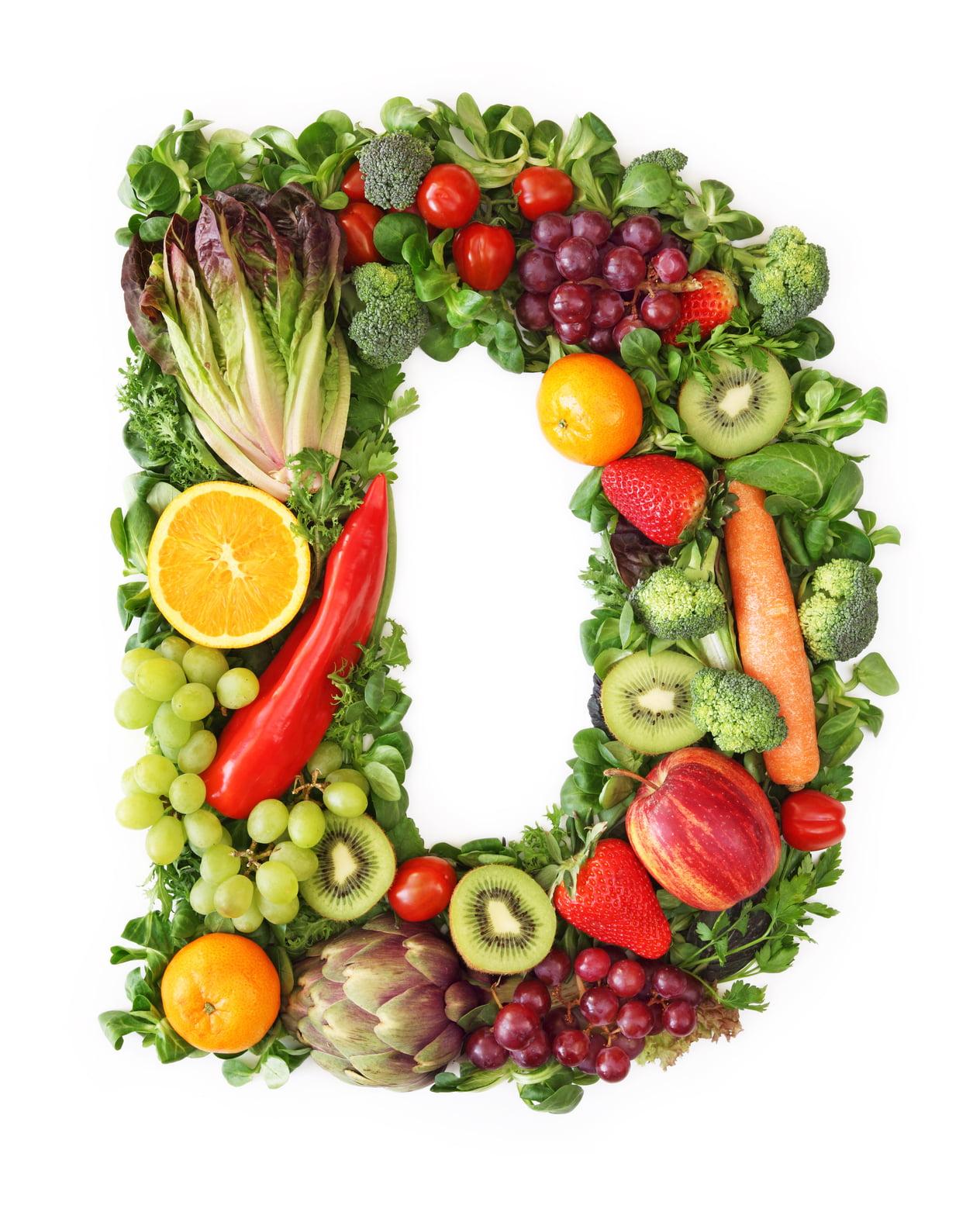 Fruit and vegetable alphabet - letter D